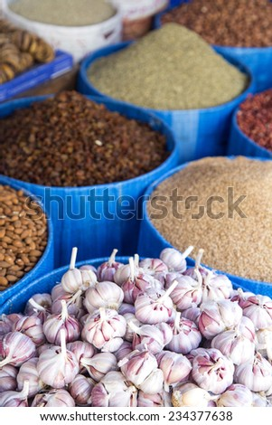 Detail of grain food on the market at Rabat, Morocco - stock photo