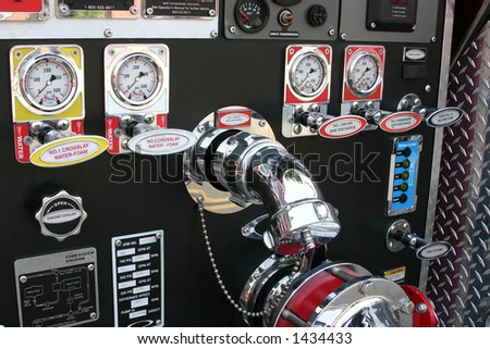 detail of hardware from a fire truck - stock photo