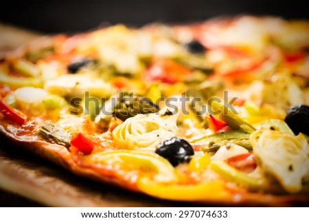 Detail of healthy vegetables pizza.