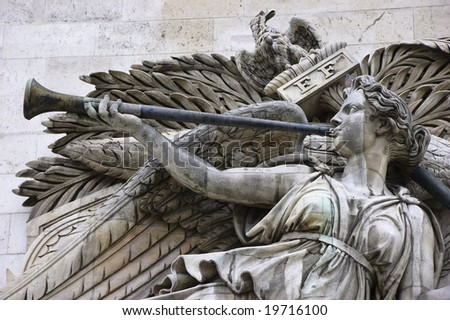 Detail of high-relief on Arc de Triomphe, Triumph of Napoleon