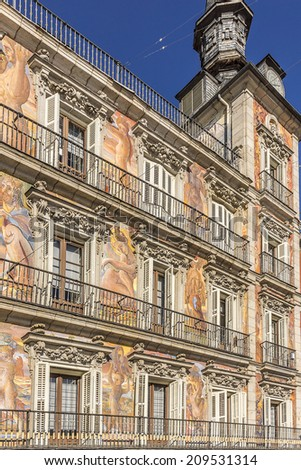 Detail of Historic tenement house facade Casa de la Panaderia (Bakery House, 1619 � now municipal and cultural building) decorated before Christmas. Plaza Mayor. - stock photo