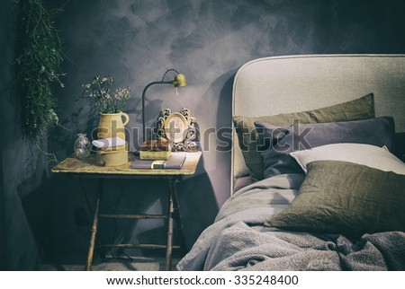 detail of home bedroom in country style - stock photo