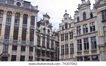 Detail of houses on main square in Brussels, Belgium