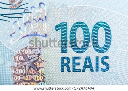 Detail of 100 (hundred) reais bill - stock photo