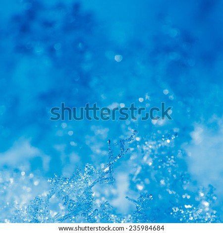 Detail of ice crystal and snowflakes - stock photo