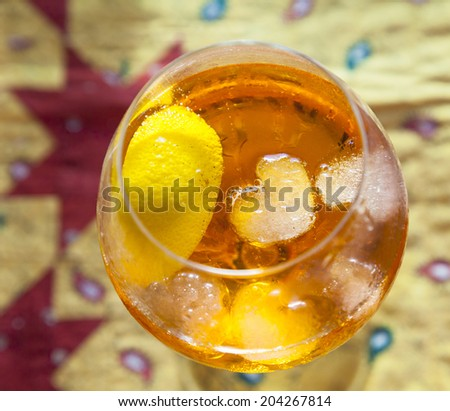 detail of ice cubes swimming in the cocktail glass - stock photo