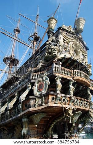 Detail of Il Galeone Neptune ship, Genoa, Italy. - stock photo