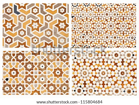 Detail of inlay and carvings decorating the Taj Mahal, Agra, India - stock photo