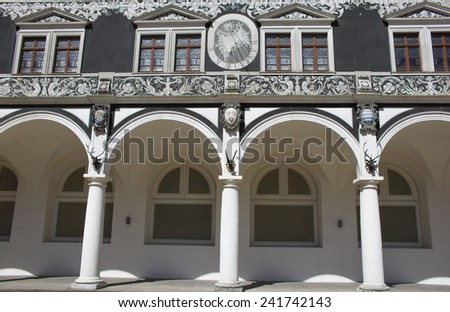 Detail of inner side of Stallhof palace in Dresden, Germany