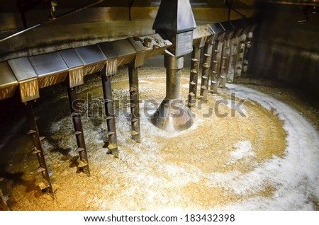Detail of inside mash tun while making of whisky - stock photo