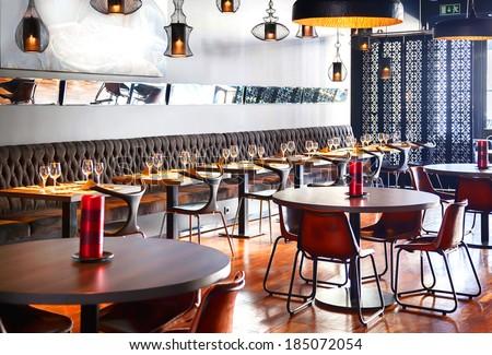 detail of interior of designed restaurant - stock photo