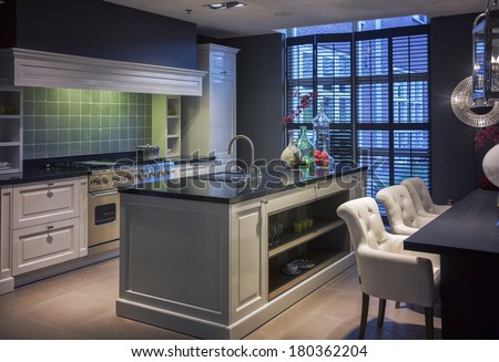 detail of interior of  kitchen in modern style - stock photo