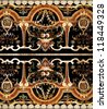 Detail of intricate ornamental marble inlay in European cathedral - stock photo