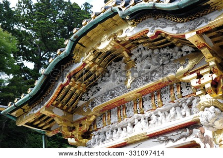Detail of Karamon of Nikko Toshogu,Nikko, It is a Shinto shrine located in Nikko, Tochigi Prefecture. It is National Treasures of Japan and Important Cultural Properties. - stock photo