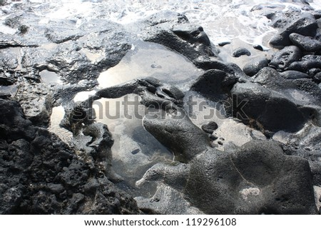 Detail of Lanzarote Volcanic Coast ( Canary Islands, Spain ) - stock photo
