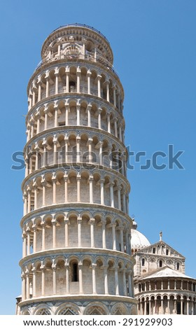 Detail of leaning tower of Pisa in Tuscany, Italy