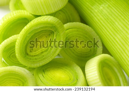 detail of leek slices - stock photo