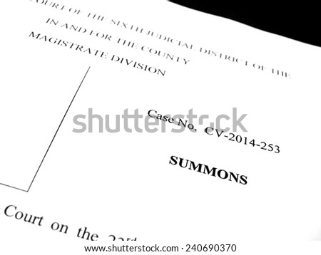 Detail of legal papers a notice of lawsuit summons - stock photo