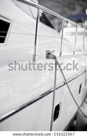detail of luxury yacht with stairs.