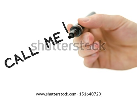 Detail of male hand writing Call me message on a virtual whiteboard with black marker. - stock photo