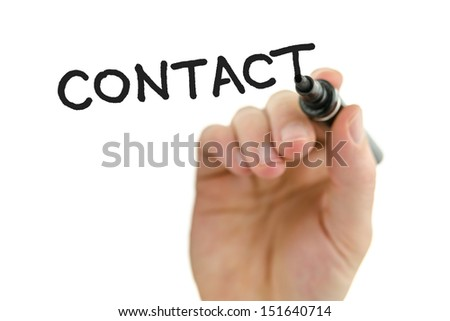 Detail of male hand writing word contact on a glass board. Over white background. - stock photo