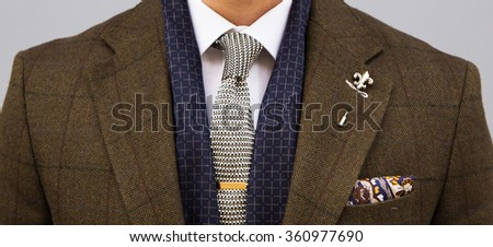 Detail of man in suit - stock photo