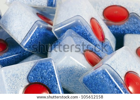 Detail of many dishwasher tablets - stock photo