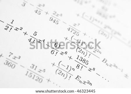 Detail of math reference book - stock photo