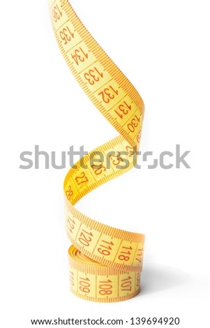 detail of measure tape on white background