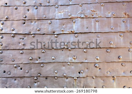 detail of medieval gate door at Belgrade fortress, notice shallow depth of field - stock photo