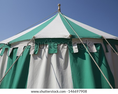 Detail of medieval tent during the Danehof Market in Nyborg, Denmark. - stock photo