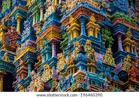Detail of Meenakshi hindu temple in Madurai, Tamil Nadu, South India - stock photo