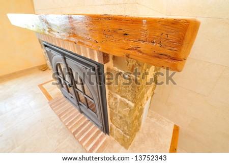 detail of modern fireplace - stock photo