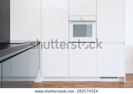 detail of modern kitchen interior with appliances - stock photo