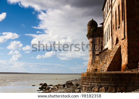 Detail of Mont Saint Michel in France - stock photo