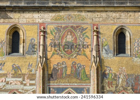 Detail of mosaic on the facade of the Metropolitan Cathedral of Saints Vitus, Wenceslaus and Adalbert. Prague. Czech Republic. - stock photo
