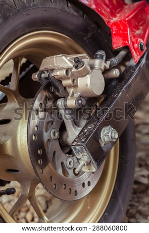 detail of motorcycle disc brakes, close up image