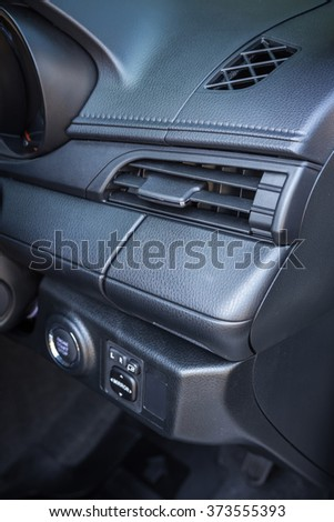Detail of new modern car interior, Focus on air-con