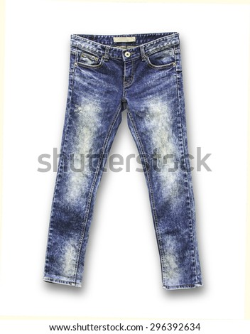 Detail of nice blue jeans on white background - stock photo