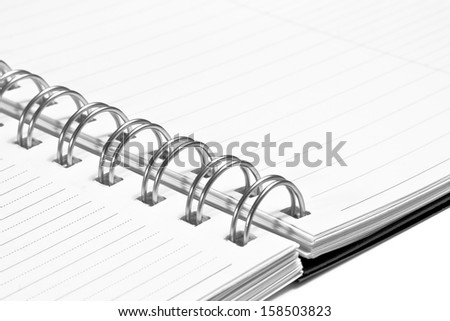 detail of notebook for write in office