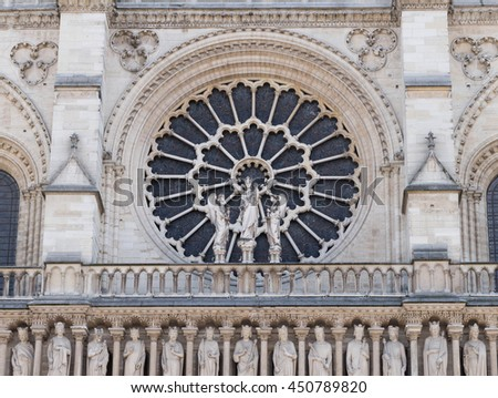 Detail of Notre Dame de Paris, France. (Notre-Dame Cathedral) - stock photo