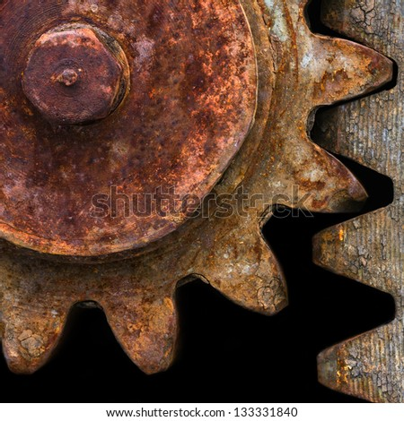 Detail of old rusty gears transmission wheels - stock photo