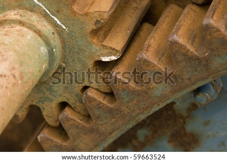 detail of old rusty gears, transmission wheels - stock photo