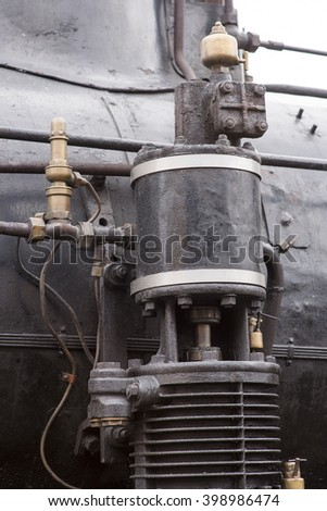 Detail of old steam locomotive - stock photo
