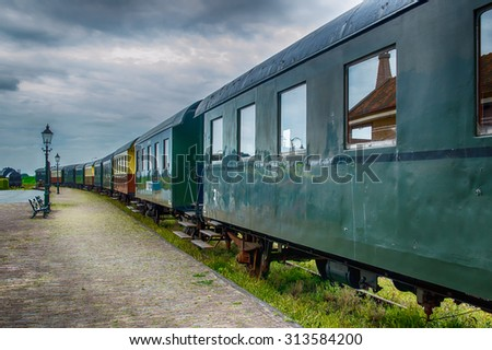 Detail of old train wagons of the Steam Train between Medemblik and Hoorn, The Netherlands - stock photo