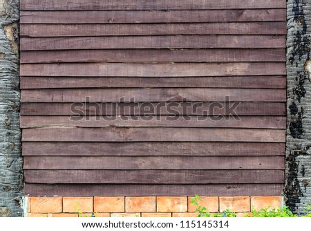 Detail of old wooden wall as background textured. - stock photo