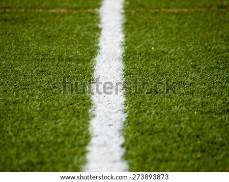 Detail of one of the lines that define areas within on a football field.