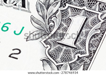 Detail of one US dollar. Stacked shot. - stock photo