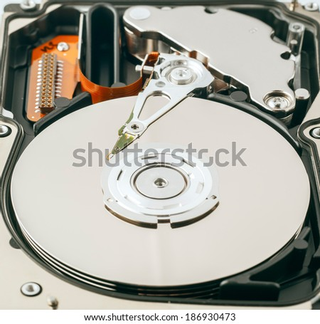 Detail of open hard drive