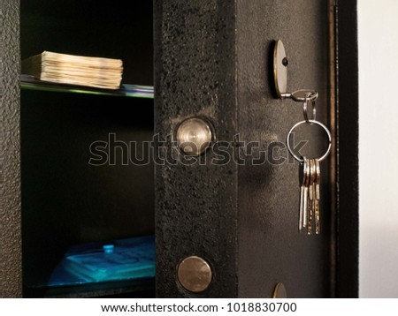 Detail of Open Safe with Bunch of Keys